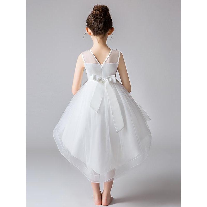 Ever høj lav brudepige, blomsterpige kjole hvid eller lyserød
