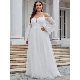 Jantern brudekjole med ærmer billigt i store størrelser