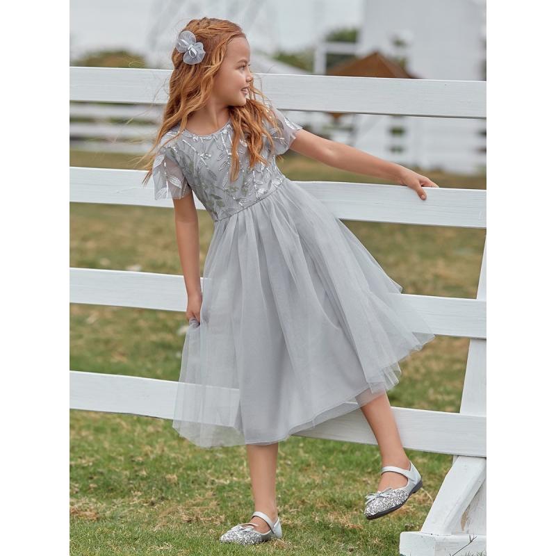 Blomster pige kjole med glimmer i grå farve