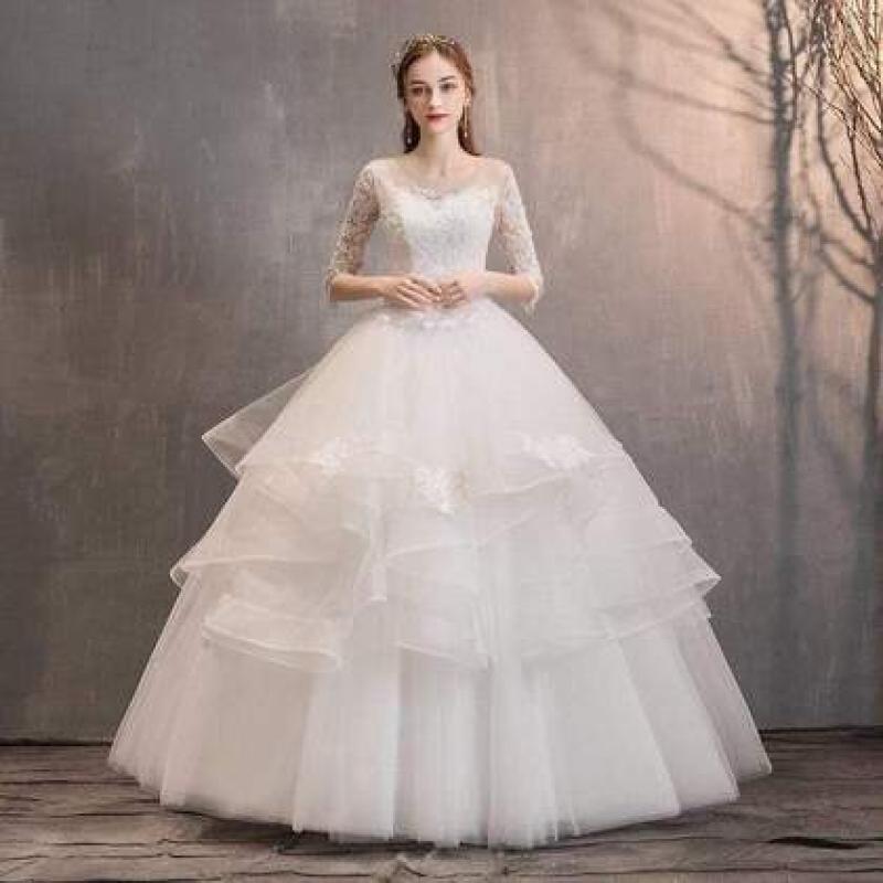 Stor prinsesse brudekjole i hvid
